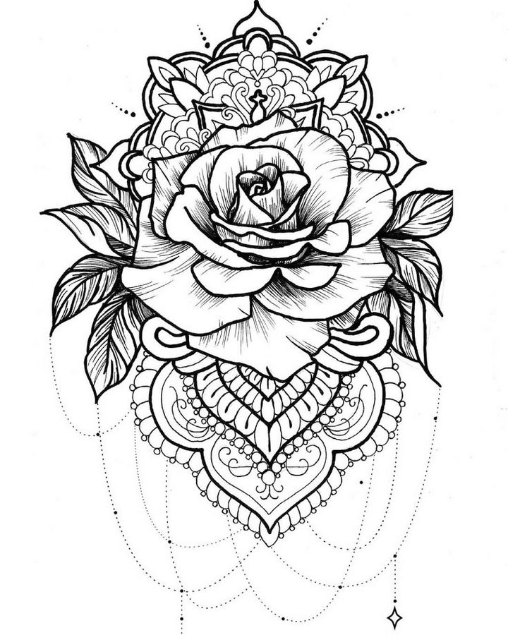 printable-mandala-rose-coloring-pages