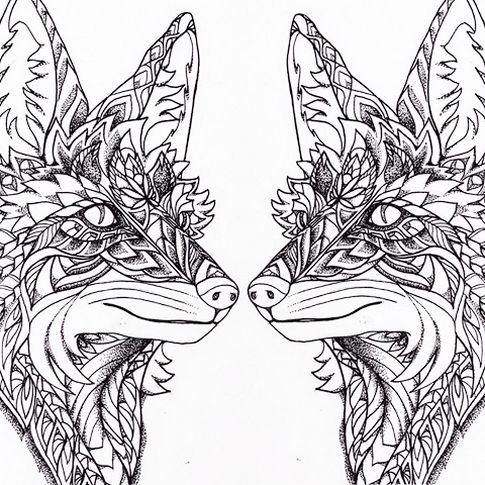 two-fox-coloring-page