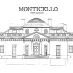 Monticello-Thomas-Jefferson's-stately-Virginia-home-coloring-page