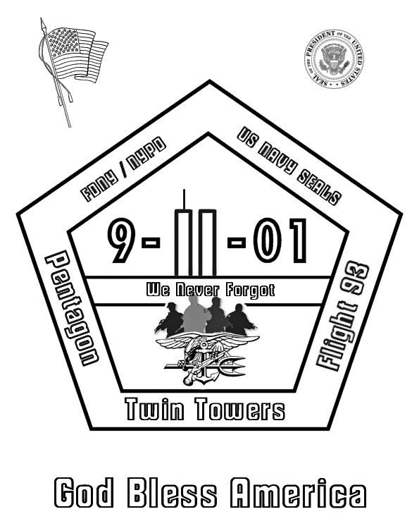 9 11th coloring sheet for kids for September 11 coloring pages