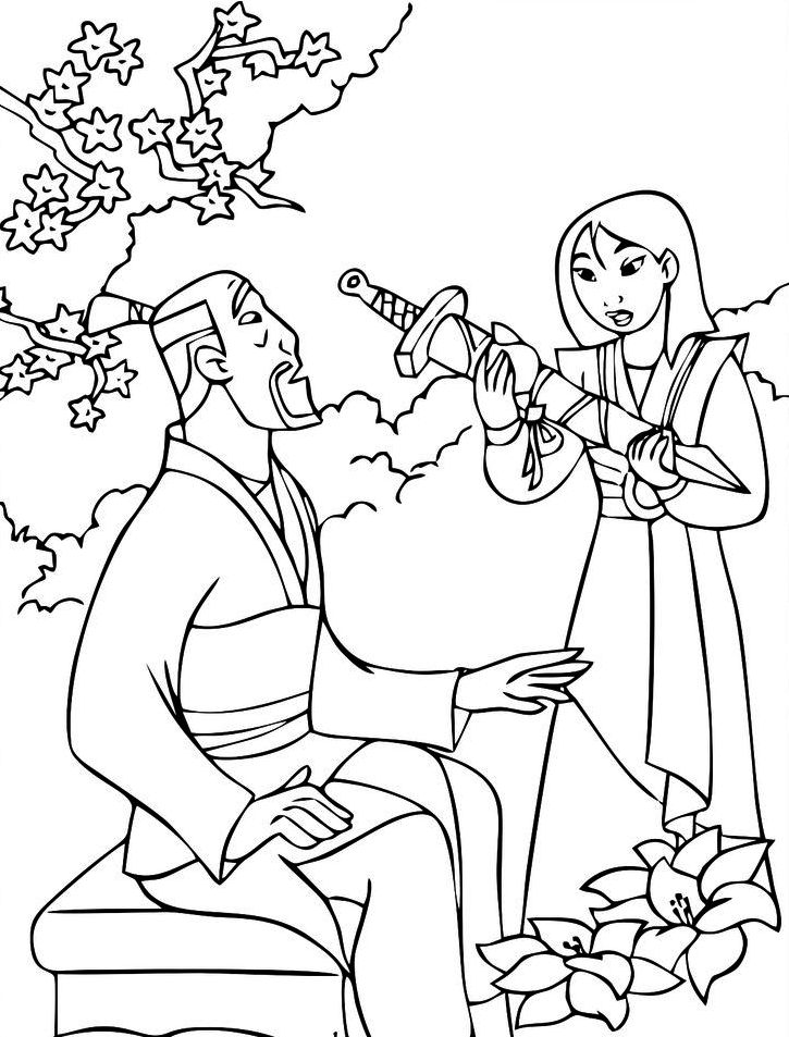 Mulan-Coloring-sheet-Drawing