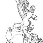 Po-and-Tigress-and-Monkey-Character-from-Kung-Fu-Panda-Coloring-Page