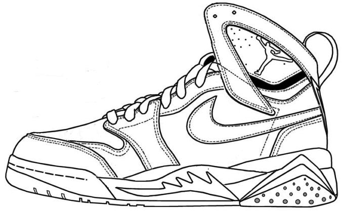 Air Jordan Shoe Coloring Pages Printable 1