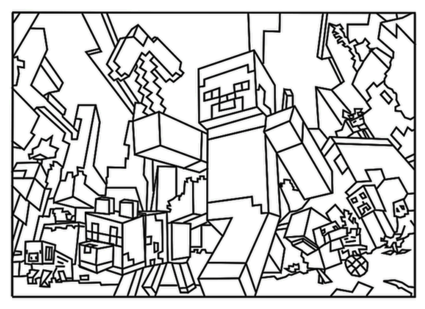 Minecraft Steve Coloring Page To