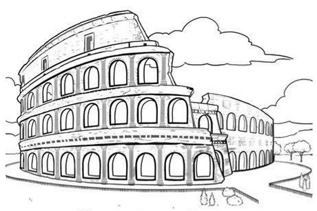 Colosseum Rome Italy Coloring Page Landmark Italy