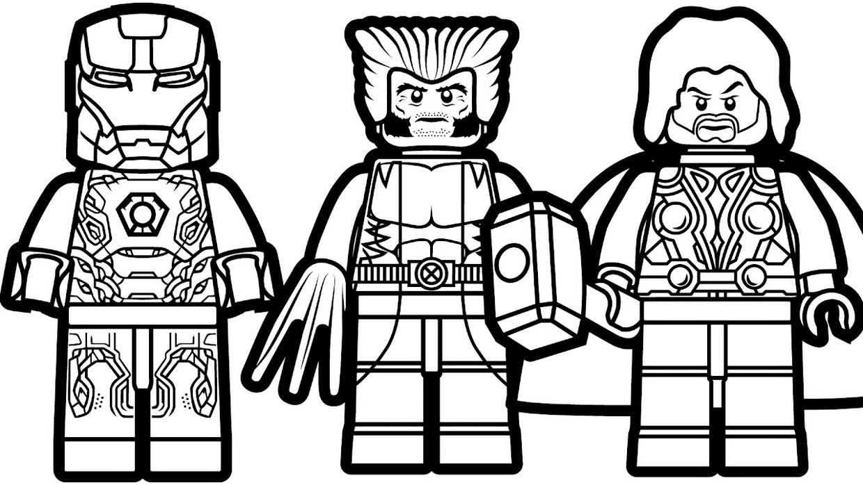Lego Thor Marvel Coloring Page