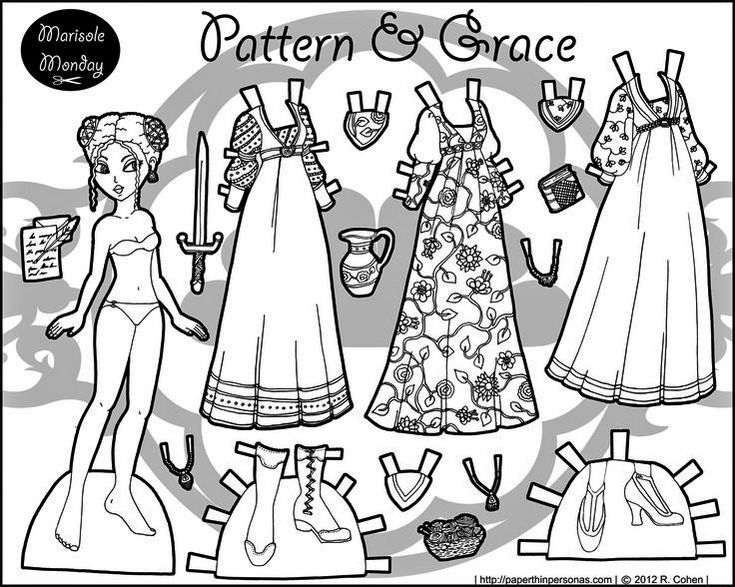 Pattern And Grace Paper Doll Coloring Page