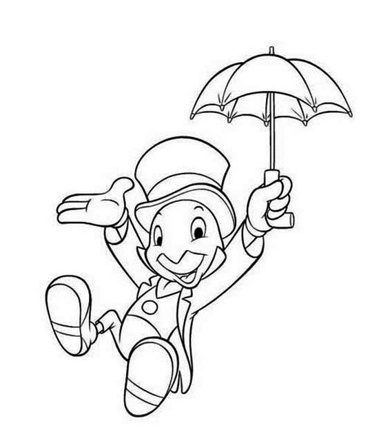 Pinocchio Character Jiminy Cricket Coloring Pages Disney