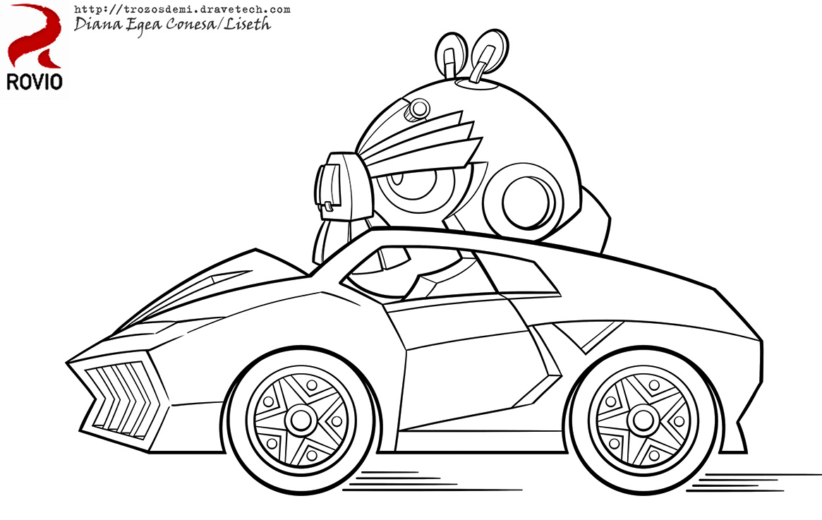 Angry Bird Transformers Bumblebee And Racing Car Illustration Pages
