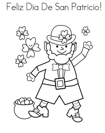 Feliz Dia De San Patricio St Patrick Day Coloring Sheet