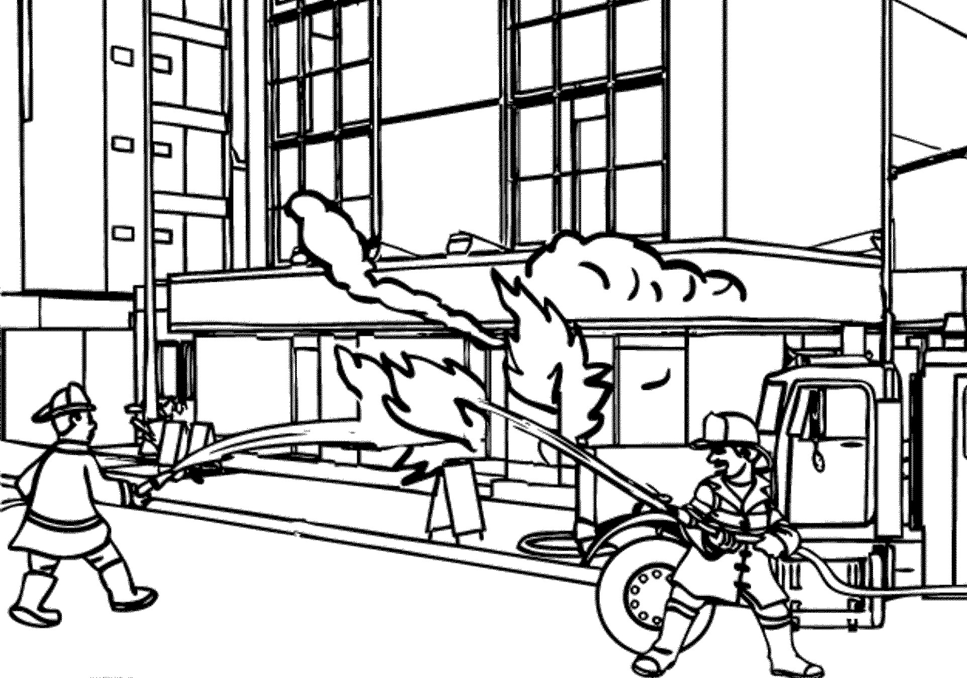 Fireman Rescue Building Coloring Pages