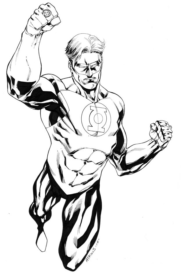 Green Lantern Coloring Page American Comic Book Superhero