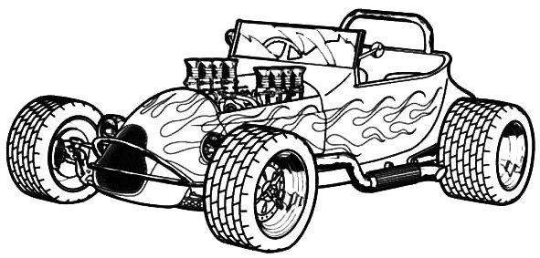 Hot Rod Sporty Car Coloring Page