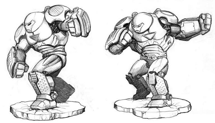 Ironman Hulkbuster Drawing Black And White