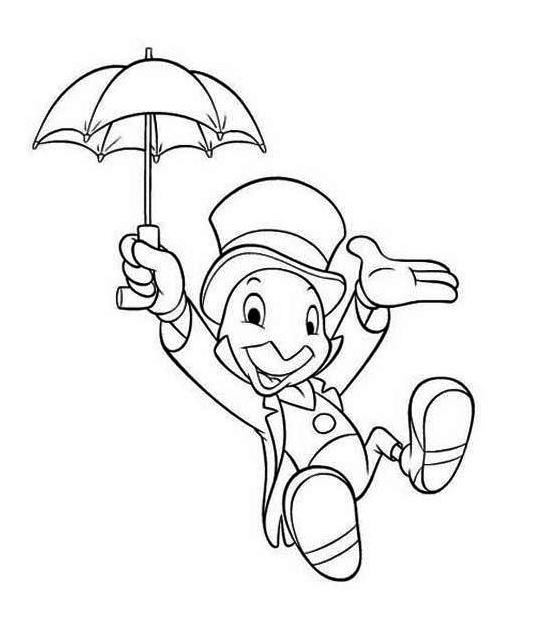 Jiminy Cricket Disney Mural Coloring Page