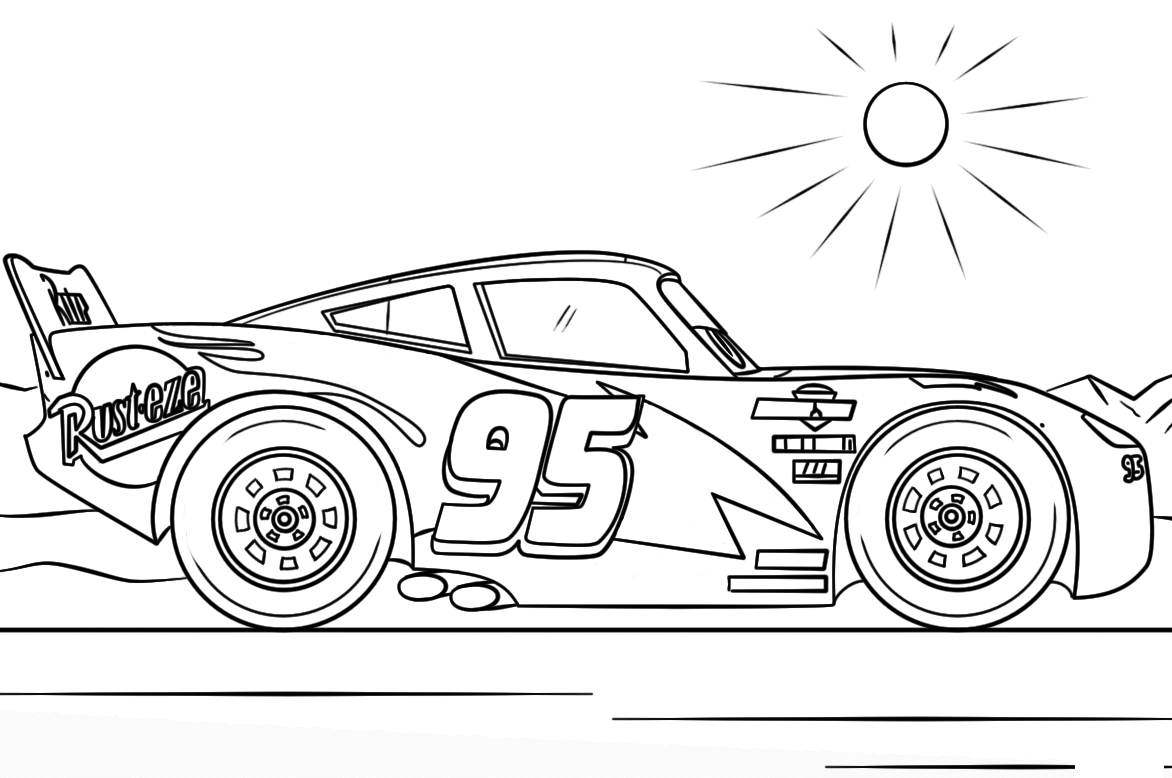 Lightning Mcqueen Race Cars Coloring Page