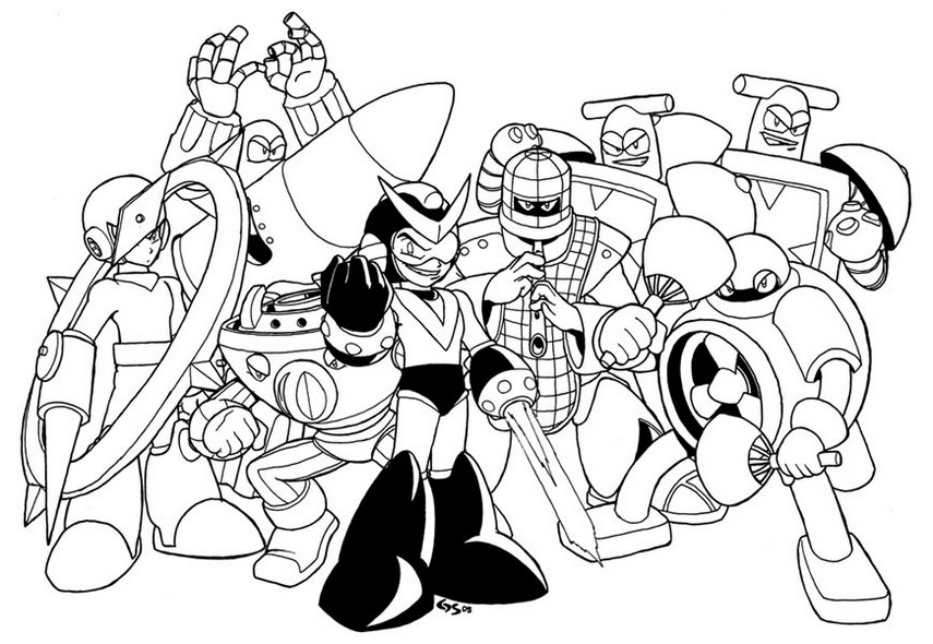 Megaman Characters Coloring Pages