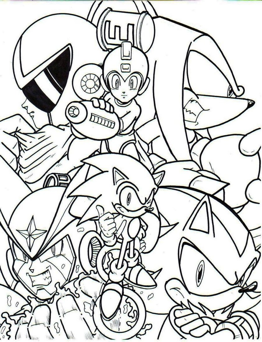 Megaman Sonic Crossover Coloring Pages To Print