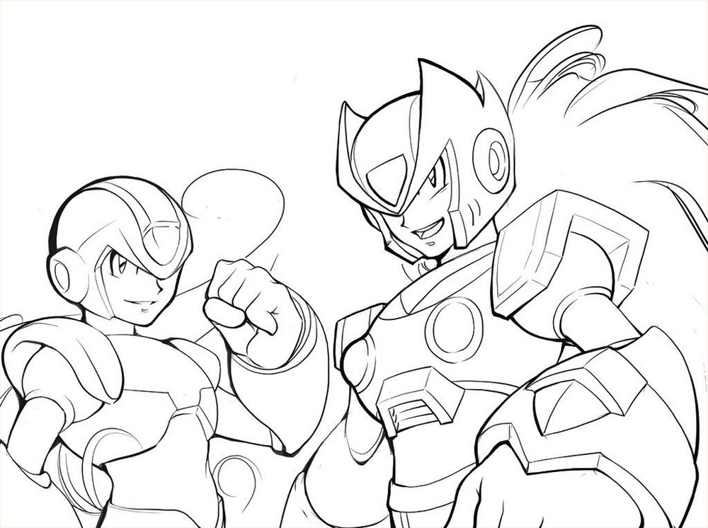 Megaman X And Zero Coloring Page Printable