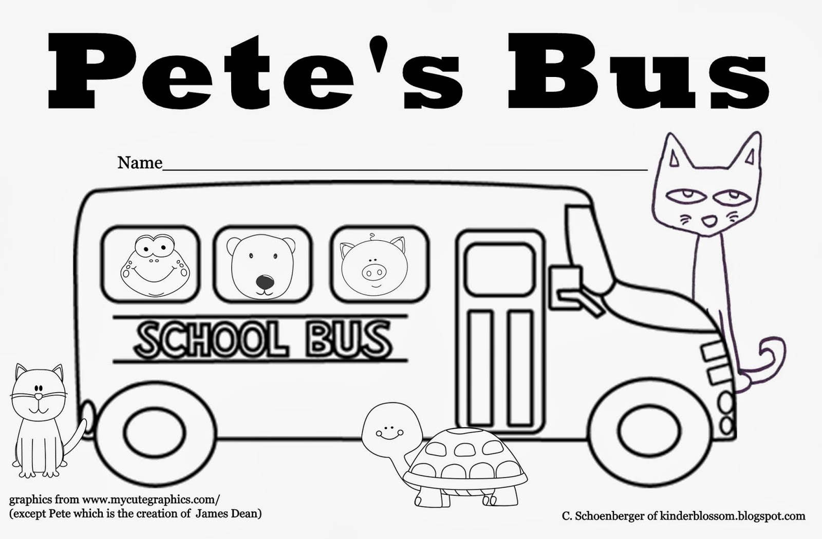 Pete Cat Bus Coloring Page Printable