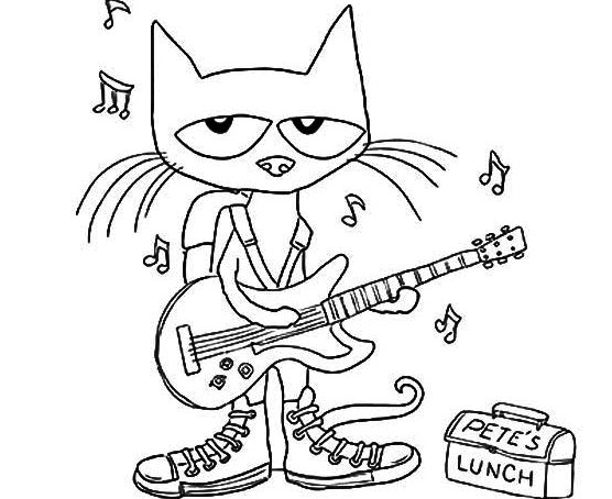 Pete The Cat Plays Guitar Coloring Page