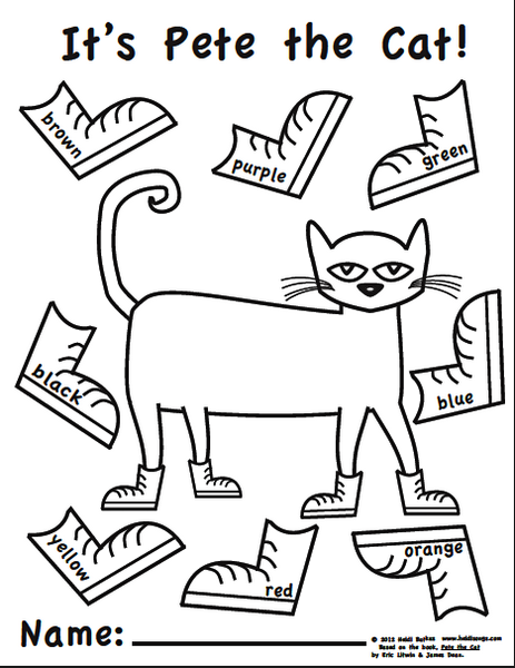 Pete The Cat Shoes Coloring Sheet