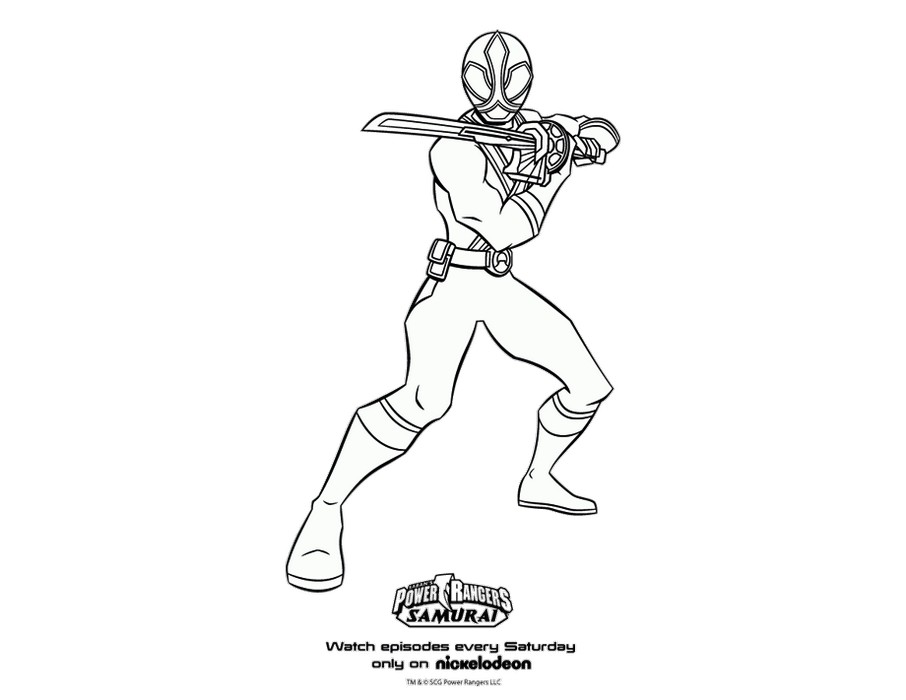 power rangers samurai coloring pages | Power Rangers Samurai Green Samurai Ranger Coloring Page