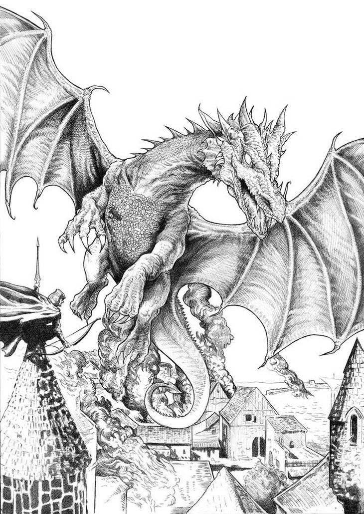 Smaug The Hobbit Coloring Page Dragon