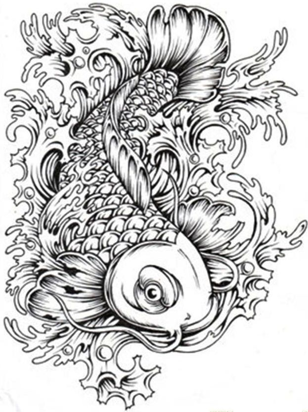 Koi Carp Fish Coloring Sheets