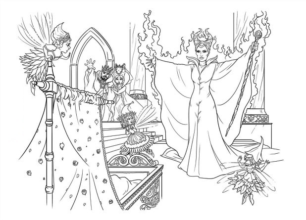 Maleficent Coloring Page Wide Disney