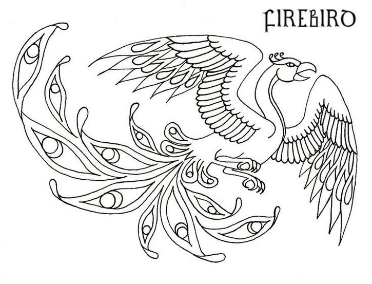 Celtic Patterns Embroidery Design Of Phoenix Bird Coloring Pages