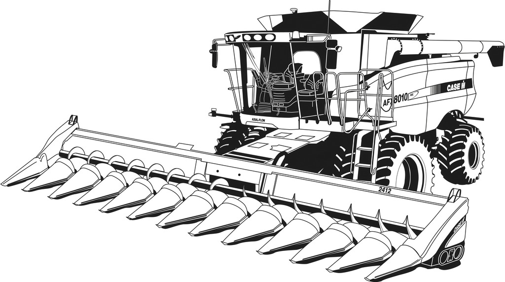 Combine Harvester Case IH Coloring Pages Printable