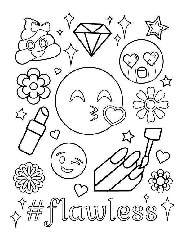 Cute Emoji Coloring Pages