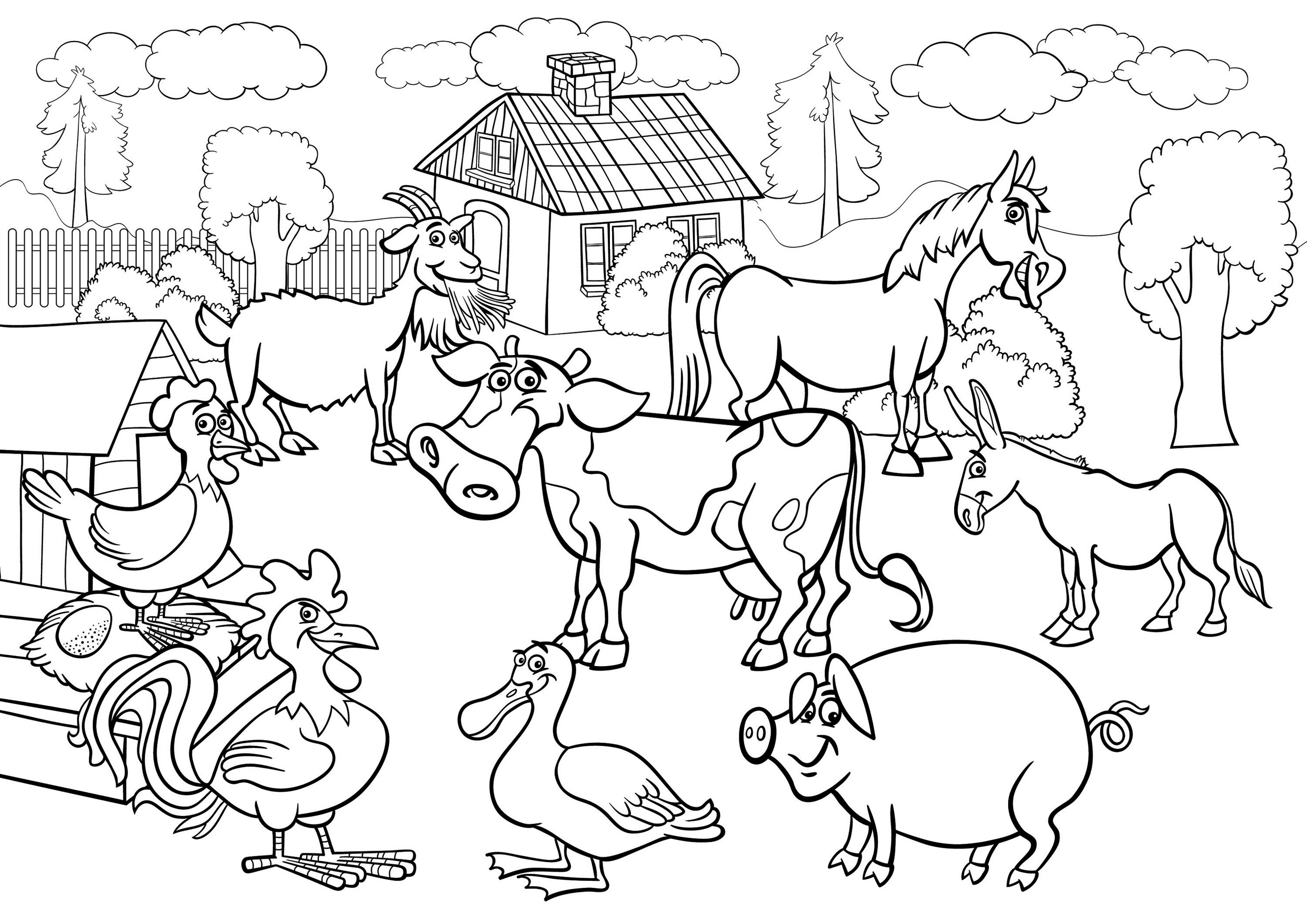Farm Animals Coloring Pages To Educate Kids Livestock 1