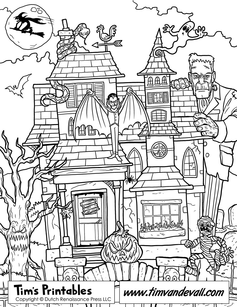 Free Haunted House Coloring Page Printable