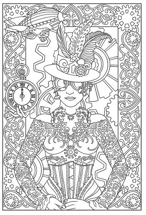 Free Printable Steampunk Coloring Sheet