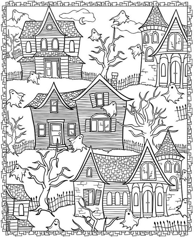 Haunted House Coloring Sheet To Print