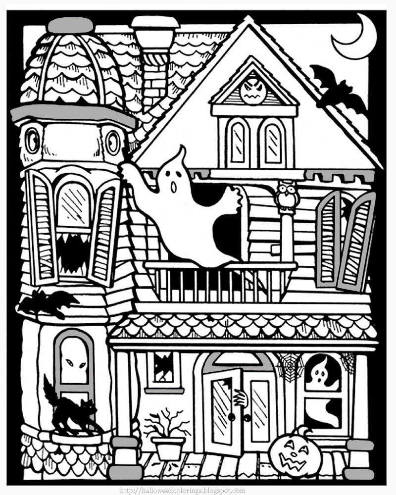 Haunted House Scary Coloring Page