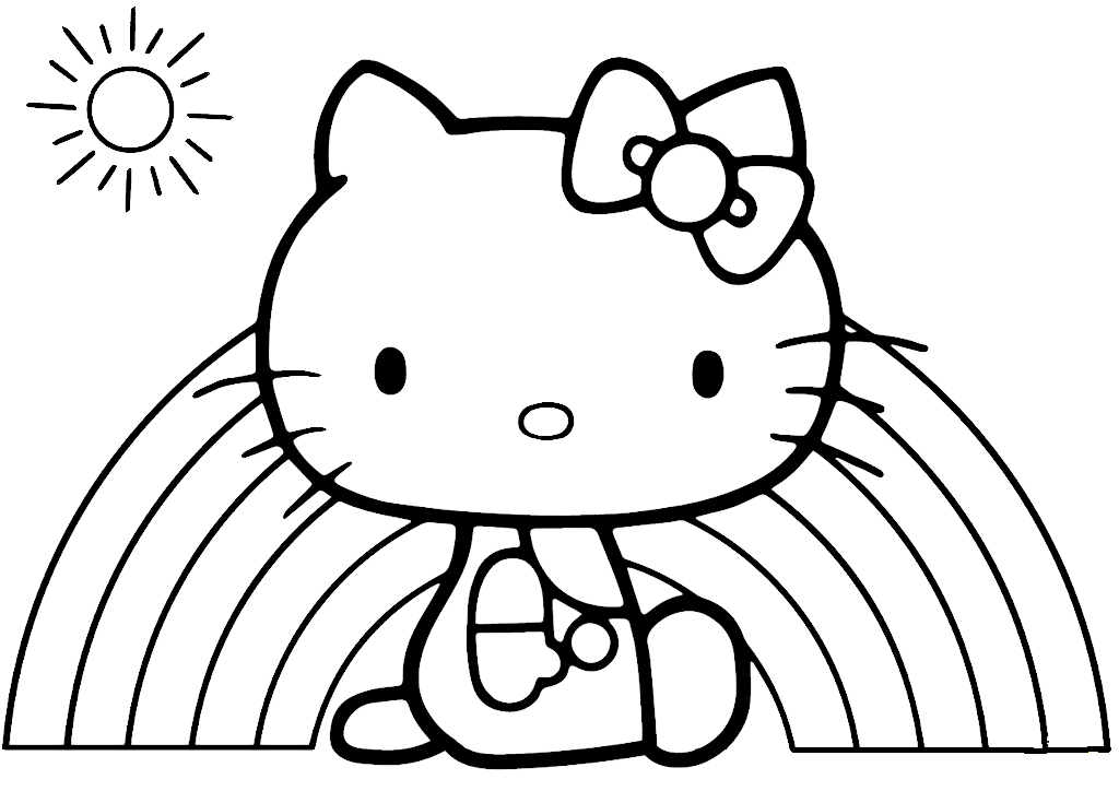 Hello Kitty Rainbow Coloring Sheet Printable