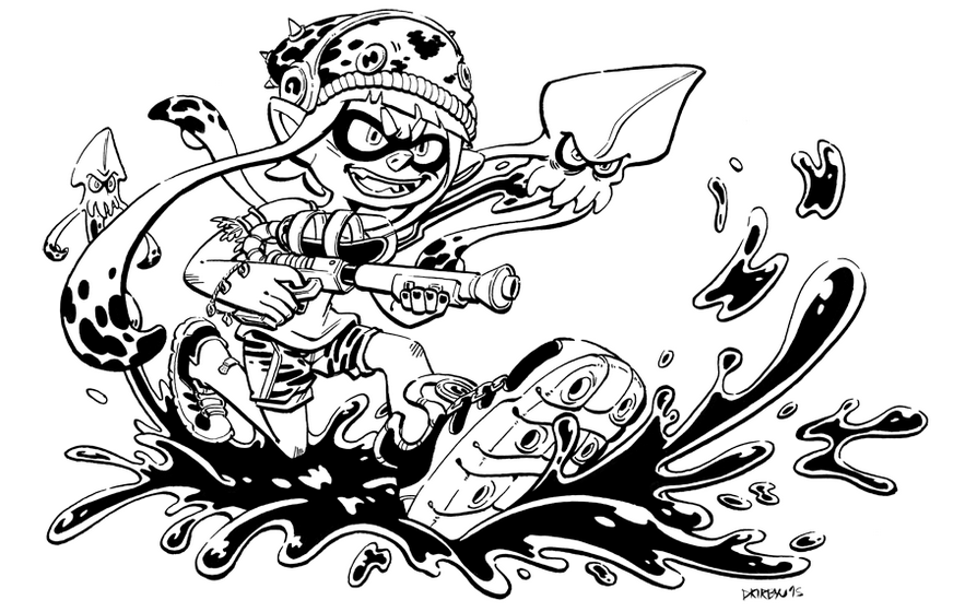 Inkling Splatoon 2 Coloring Page