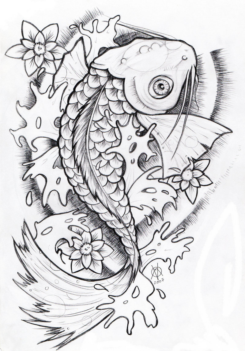 Japanese Koi Colouring Sheet Art