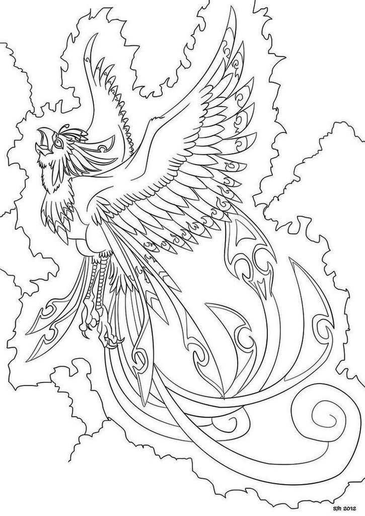 Phoenix Bird Coloring Page Printable