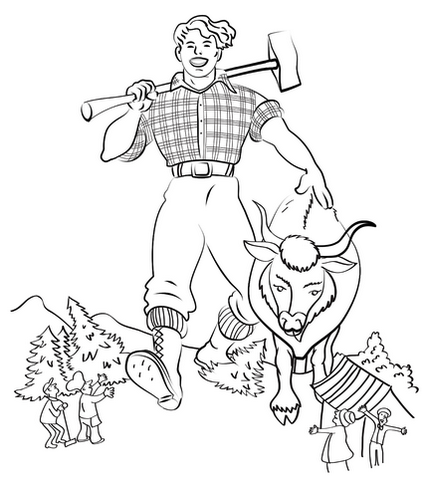 Printable Bunyan And Babe The Blue Ox Coloring Sheets