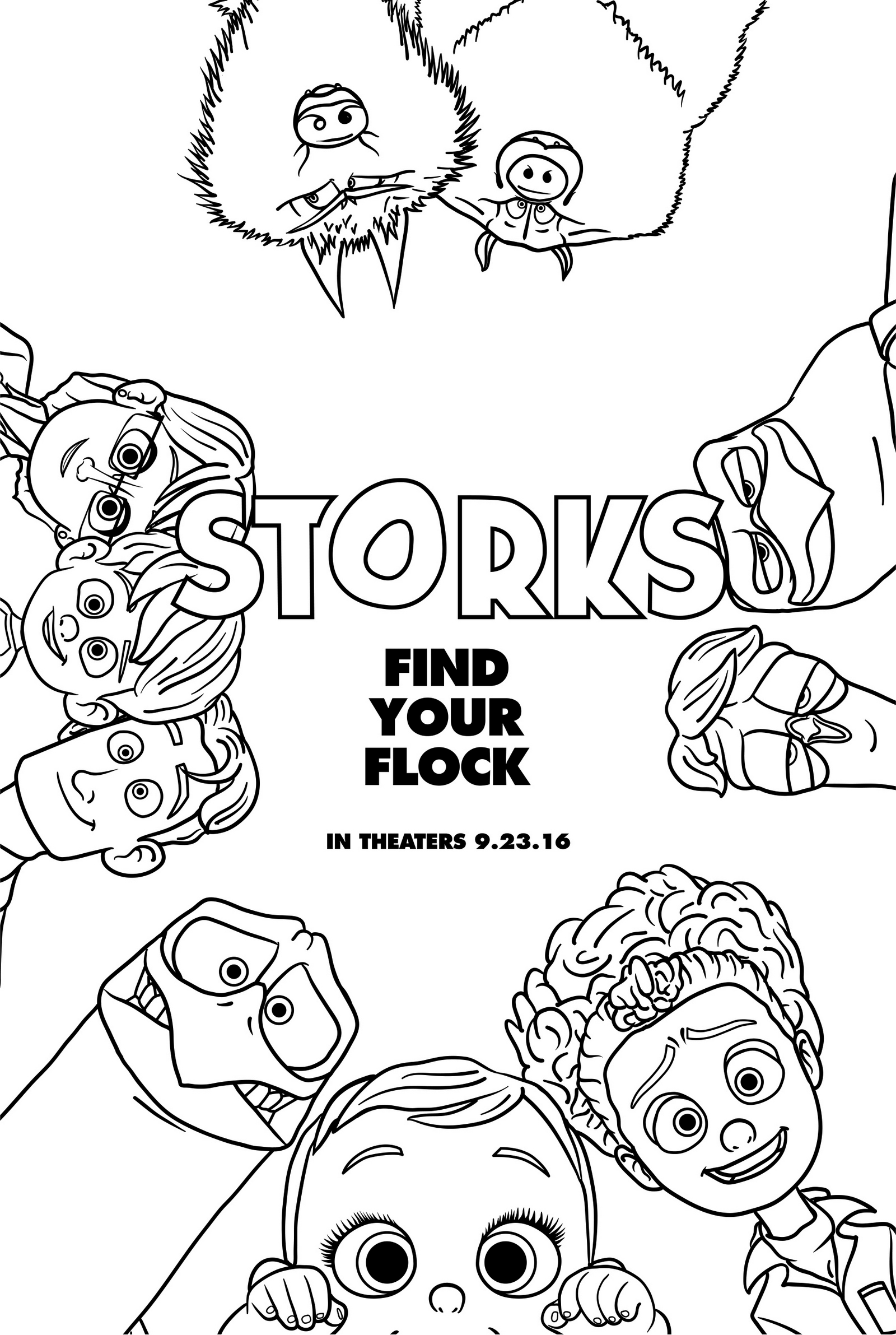 Printable Storks Coloring Page