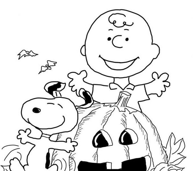 Pumpkin Charlie Brown Halloween Coloring Page Printable