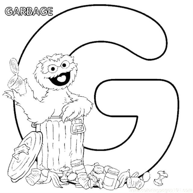 Sesame Street G Letter Coloring Page