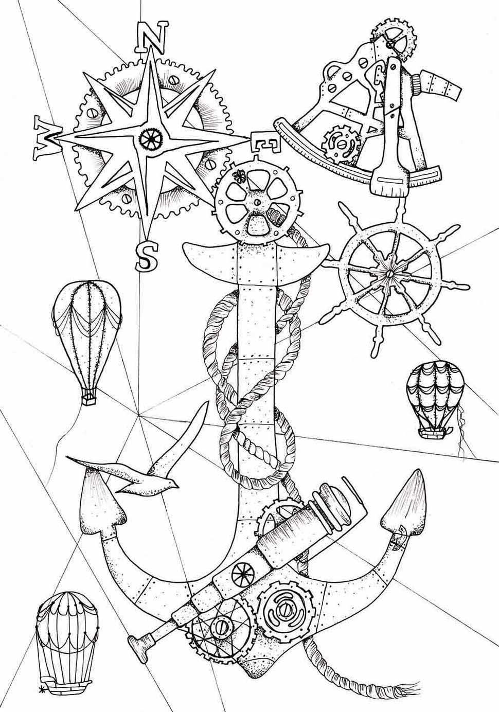 Steampunk Anchor Ocean Coloring Page