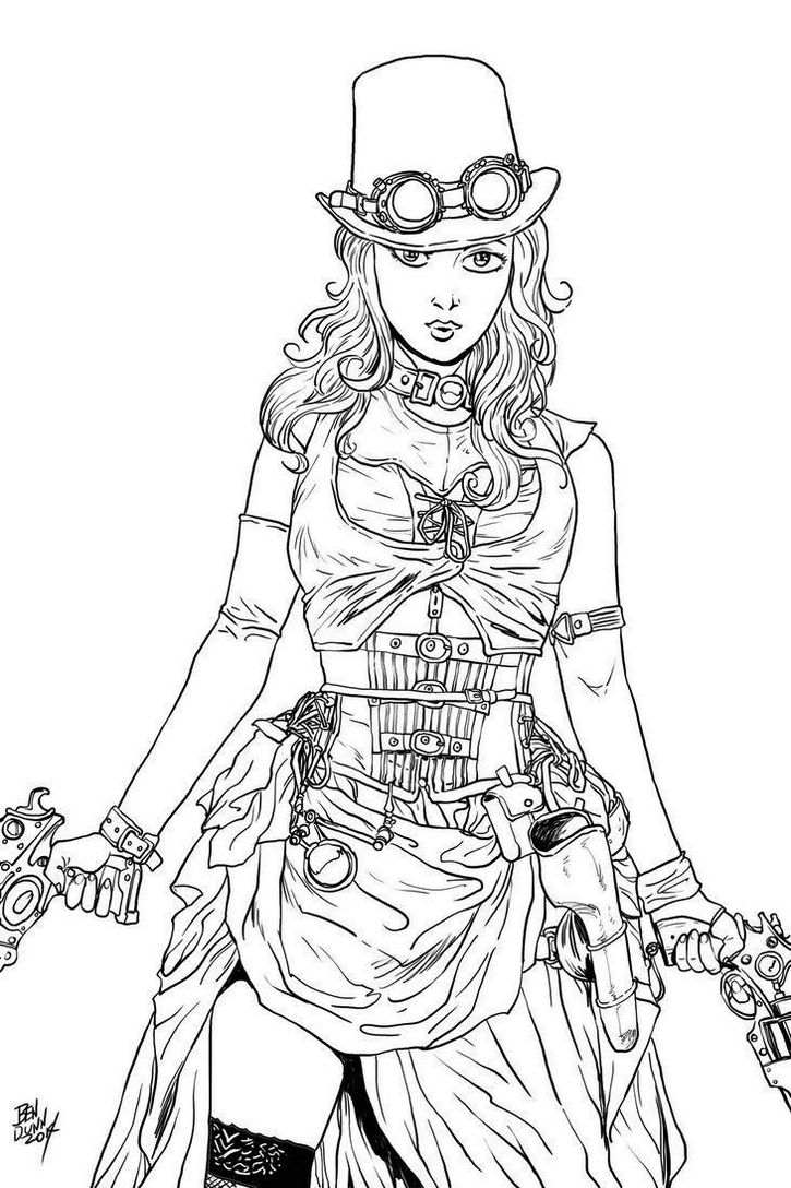 Steampunk Illustration Science Fiction Coloring Page