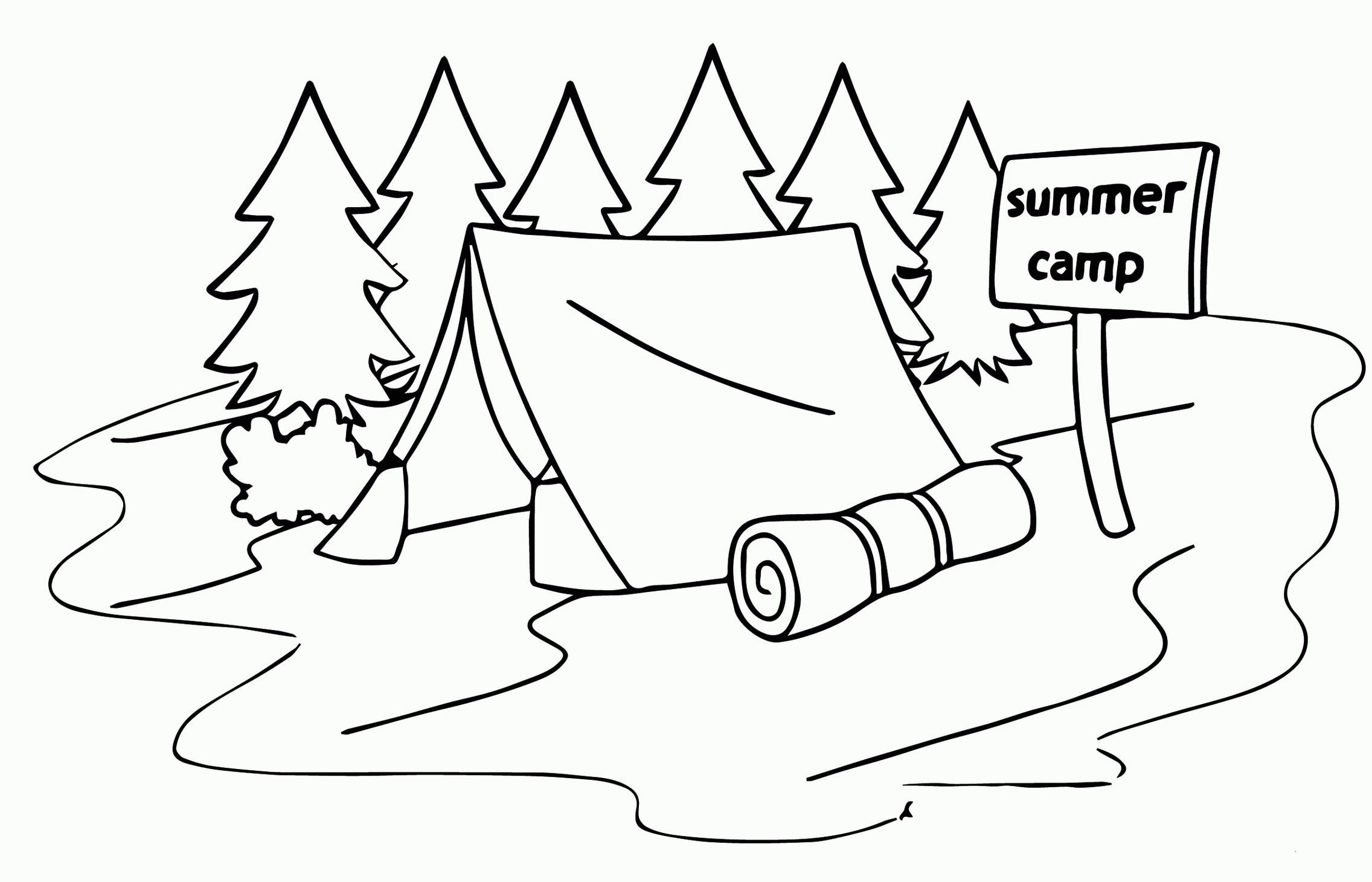 Summer Camp Tent Coloring Page For Kids