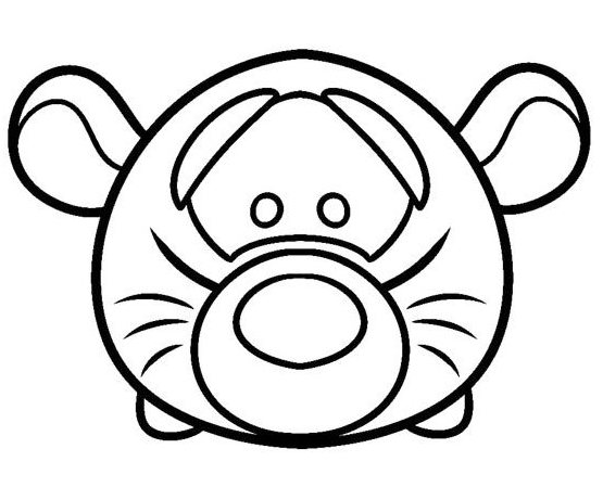Tsum Tsum Coloring Pages Bubbles: Tsum Tsum Tiger Coloring Page